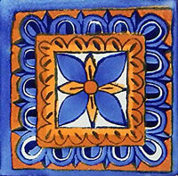 6 Pcs Talavera 6x6 Handmade Ceramic Tile Mexican C122