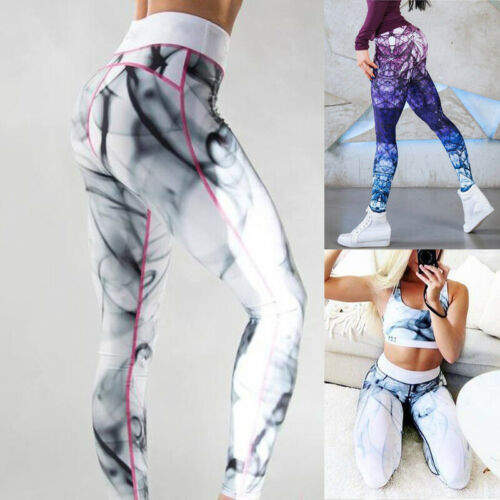Womens Yoga Printed Pants Fitness Leggings Running Gym Athletic Sports Trousers