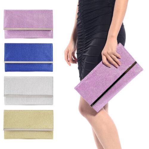 Women Large Metal Bar Glitter Envelope Clutch Prom Handbag Soft Flap Over Purse