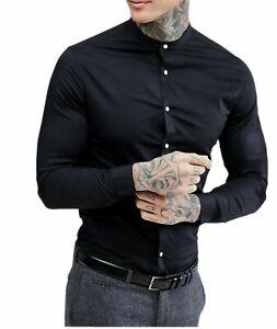 Men-039-s-Grandad-Long-Sleeve-Shirts-Smart-Casual-Slim-Fit-Shirt-Mandarin-PS30