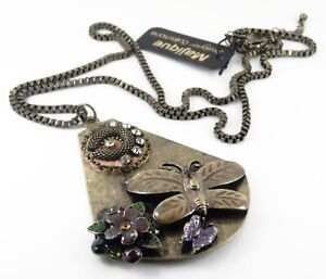 MAJIQUE-PENDANT-STATEMENT-NECKLACE-ANTIQUE-BRONZE-BUTTERFLY-FLOWER-AND-CRYSTAL