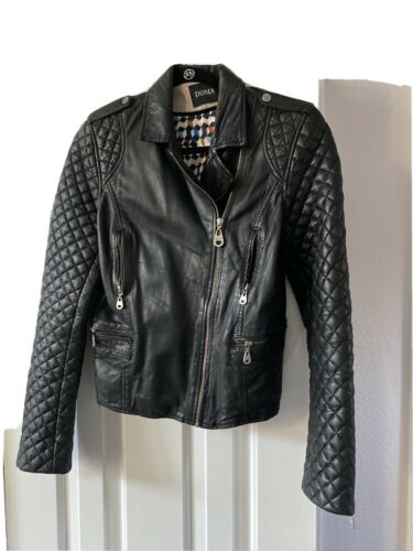 Doma Moto Black Leather Quilted Moto Jacket Size M