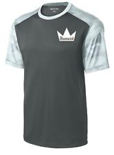 Brunswick Men/'s Edge Performance Crew Bowling Shirt Dri-Fit Navy Grey