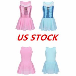 US-Kids-Girls-Gymnastics-Leotard-Dress-Ballet-Dance-Tutu-Skirt-Dancewear-Costume