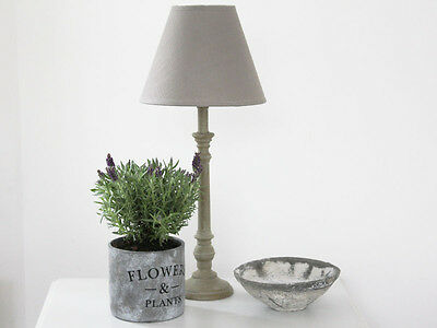 ANTIQUE VINTAGE TAUPE WOODEN LAMP BASE GREY LINEN SHADE TABLE/BEDSIDE FRENCH