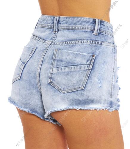 Taille 6 8 10 12 14 nouveaux shorts taille haute denim dames rip haute rétreints déchirés