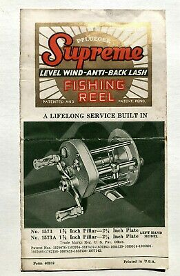 1950s Pflueger Supreme No. 1573,a Fishing Reel Manual Instruction Booklet