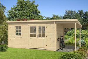 Gartenhaus York mit Schleppdach Holz 420x250 cm 28 mm Blockhaus ...