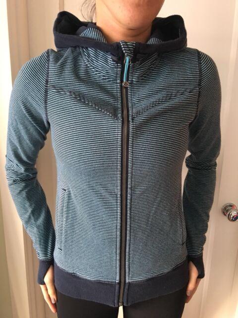 e37b4cbce Lululemon Size 4 Bliss Break Hoodie Jacket Wagon Stripe Inkwell Blue Coat