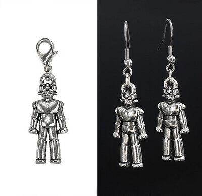 Cyber Man Robot Charm w/ Lobster Clasp   Earrings w/ Stainless Steel Earhook