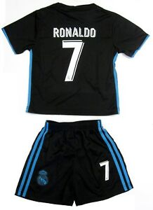 sports shoes 68406 8fbac Details about Real Madrid Soccer Black Blue Away Jersey Shorts Ronaldo # 7  Uniform Kids Youth