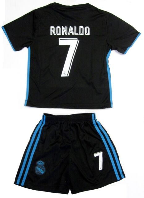 best website d4359 167f4 Real Madrid Soccer Black Blue Away Jersey Shorts Ronaldo # 7 Uniform Kids  Youth