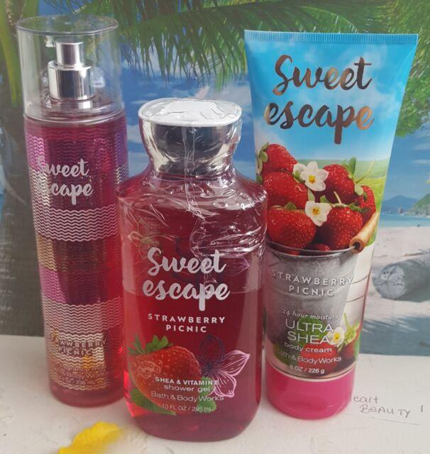 bath and body works sweet escape strawberry picnic shower gel cream fragrance