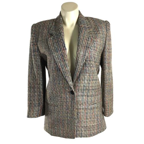 York Color Blazer Tweed New 12 Ello Multi 100 Jakke Suit Usa Lined Large Silke Cx5zwXnXBS