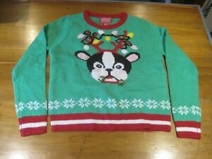 Details about Kids Ugly Christmas Sweater With Boston Terrier Size S (7 8) Free Shipping