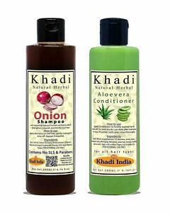 Khadi Natural Herbal Onion Shampoo and Aloevera Hair Conditioner Combo Pack 2
