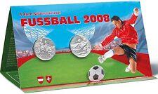 AUSTRIA ÖSTERREICH 2008 FUSSBALL CALCIO COPPIA MONETE 5 €. ARGENTO IN BLISTER