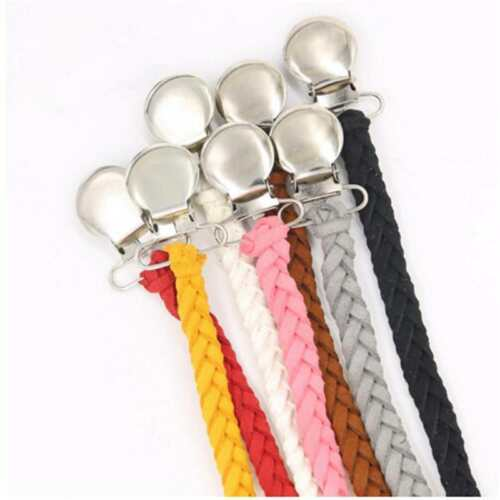 2Pcs Anti-lost Braided Clip Holder Dummy Pacifier Soother Nipple Strap Chain one