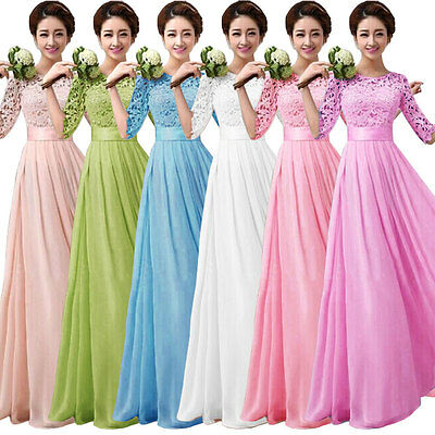 Elegant Women Long Sleeve Ball Gown Formal Evening Party Cocktail Long Dress