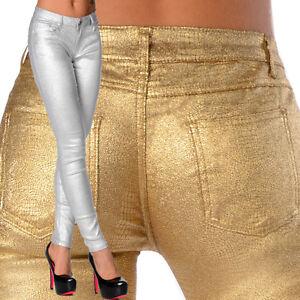 Sexy-elastique-femmes-argent-Or-Jeans-Pantalons-Collant-Slim-metallique-E-126