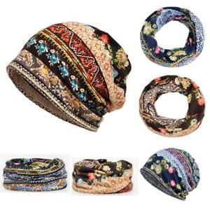 Unisex-Print-Hat-Ruffle-Cancer-Warm-Hat-Beanie-Scarf-Collar-Turban-Head-Wrap-Cap