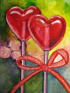 Watercolor Painting Red Heart Candies Love Valentine's Day Sweet Food ACEO  Art . | eBay