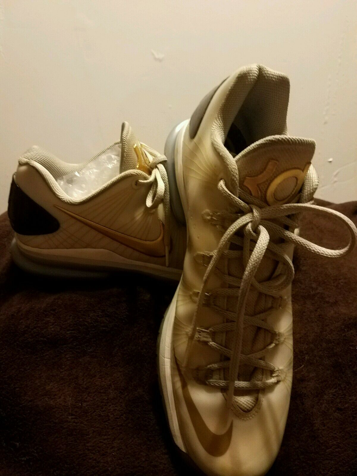 AUTHENTIC GOLD NIKE KEVIN DURANT KD V 5 WHITE METALLIC GOLD AUTHENTIC 100 ELITE LOW BASKETBALL b66239