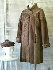 2pc Edwards Lowell Vtg Mod Curly Persian Lamb Fur & Suede Leather Coat & Hat~M/L