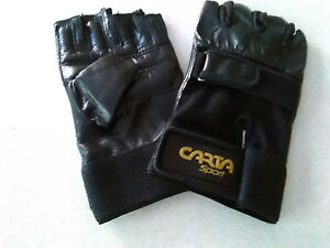 Leather-Weight-Lifting-Cycling-Gloves-Padded-Hand-Protection-Gym-Kit-Size-Large