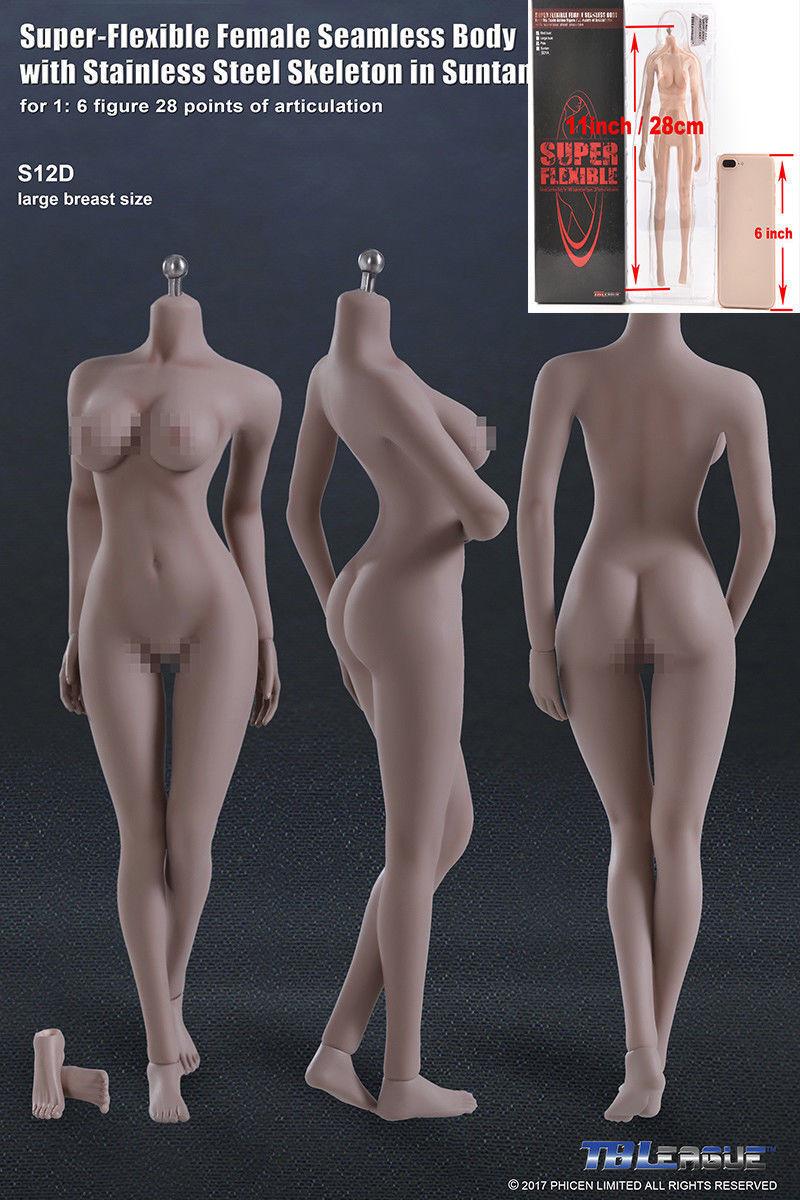 Phicen weibliche nahtlose körper modell spielzeug flexible 1   6 tbleague s12d bräune zahlen