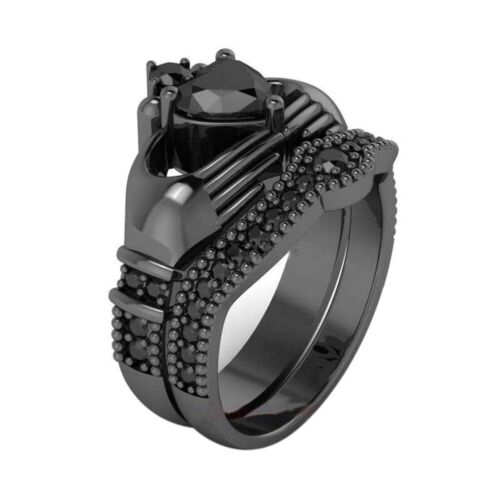 Couple Rings Titanium Steel Band Black Cz Mens Band Womens Rings Claddagh Rings