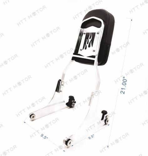 Chrome Flame Detachable Sissy Bar Backrest /& Luggage Rack for Harley Softail FLH
