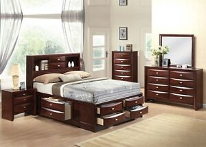 Ireland 4 Pc Bedroom Set Queen Full King Size Bed Storage Drawers Espresso Home Ebay