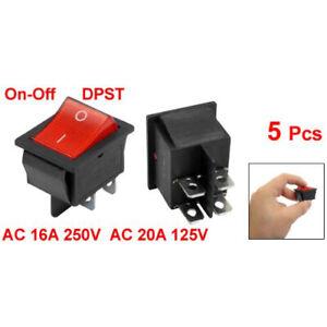 5-x-Rosso-Illuminato-Luce-On-Off-DPST-Barca-Interruttore-a-bilanciere-16A-H1R6
