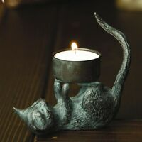 Adorable Cat Kitty Tea Light Candle Antique Brass Candle Holder,3''h