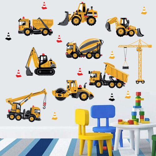 New Construction Vehicles-1 Pack Wall Stickers Tractor Digger Dumper Truck Crane