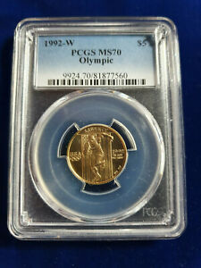 🌟1992-W Olympic $5 Gold Commemorative PCGS MS-70