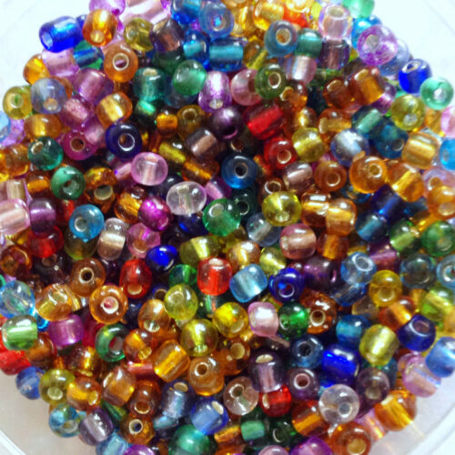 4, 3, 2mm 100g MIXED SILVER-LINED glass seed beads 11//0 choose size 6 8