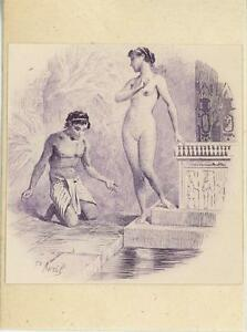 ANTIQUE-VIGNETTE-ART-PRINT-OF-EGYPTIAN-MAN-ARTISTIC-NUDE-WOMAN-ON-1803-PAPER