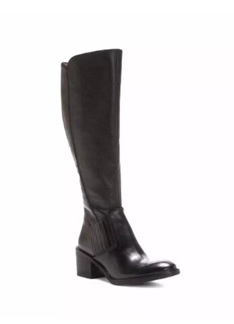 New Donald Pliner Envy Tall Black Leather Riding Boots Women's Size 8