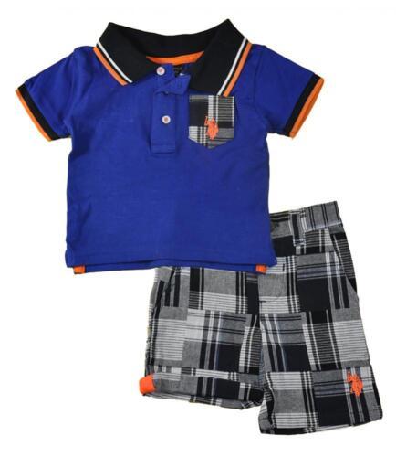 US Polo Assn Infant Boys Blue Polo 2pc Short Set Size 3//6M 6//9M 12M $32