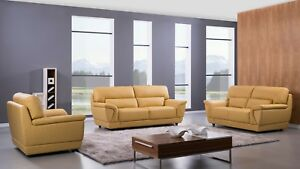 Details about 3 PC Modern Yellow Italian Leather Sofa Loveseat Chair Living  Room Couch Set