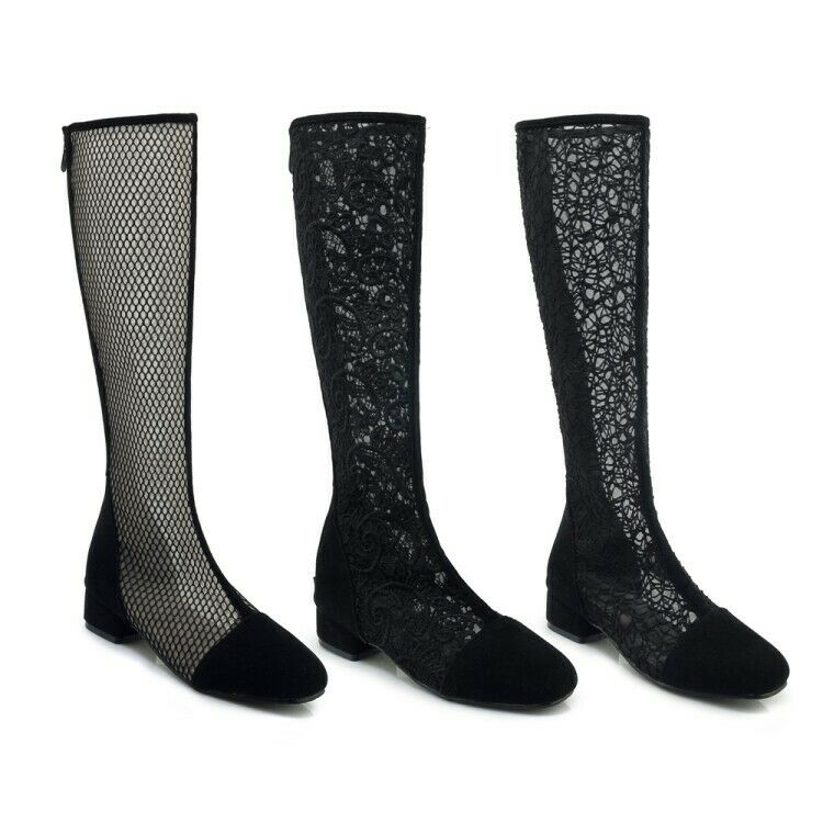 Womens Round Toe Knee High Booties Round Toe  Lace Breath Mesh Back Zipper shoes