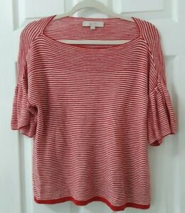 Ann-Taylor-LOFT-Size-L-Large-Red-amp-White-Striped-Short-Sleeve-Pullover-Cotton
