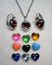 JOAN RIVERS SILVER TON 10 COLOR INTERCHANGEABLE HEART NECKLACE & EARRING SET NEW