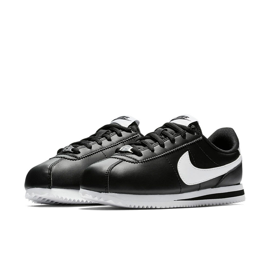 scarpe nike CORTEZ BASIC BLACK SL (GS) classic leather pelle nero bianco origin