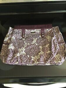 Miche-Prima-Gretchen-Shell-Deep-Purple-Floral-Design-Cloth-Material-Pockets-RARE