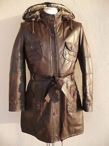new-WOMAN-lamb-GENUINE-LEATHER-COAT-BROWN-XXL-44-USA-14-UK-16-NEW