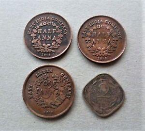 Details Zu Indien Lot Von 4 Münzen Half Anna One Anna 2 Annas