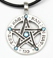 Pewter Pentagram Tetragrammaton Aquamarine Blue Crystal March Birthstone Pendant